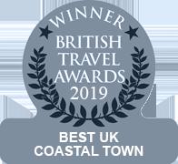 Winner's badge for Bude Best UK Coastal town 2019
